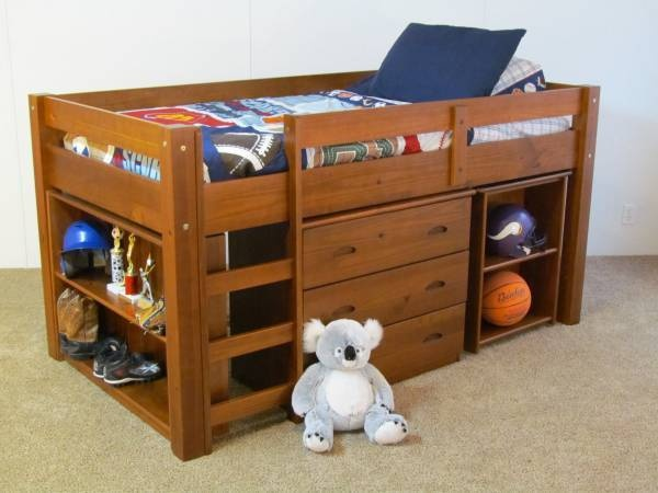 TWIN LOW LOFT BUNK BED WITH DESK BOOKCASE AND DRAWERS