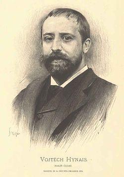 Vojtěch Hynais* 1854 Vídeň -1925 Praha.Byl významný český malíř aautor současné opony národního divadla. (kreslilJanVilímek)