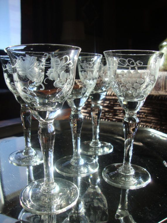 Set of Five Grape Etched Crystal Cordial Glasses by tycaalak