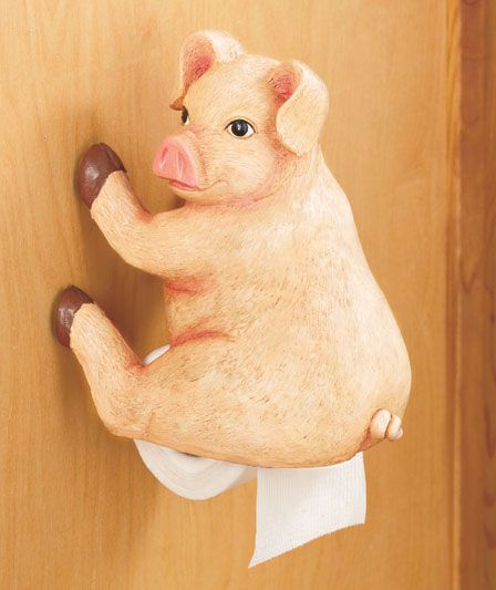 country pig bathroom decorating | ... PIG Woodland Booty Toilet Paper Tissue Holder Funny Hunter Bathroom