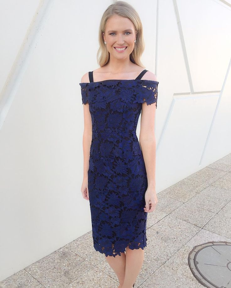 @ameliabroun wearing the Cobalt Guipure Lace Dress #acstyle