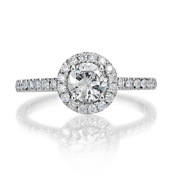 1.30 Ct D/SI1 Round Cut Natural Diamond Engagement Ring 14K White Gold Enhanced