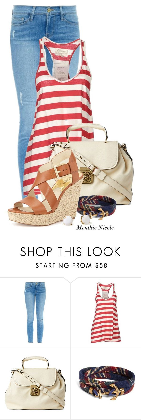 """""""Wedge Me Patriot"""" by menthienicole ❤ liked on Polyvore featuring Frame, Current/Elliott, Chloé, Brooks Brothers, MICHAEL Michael Kors and Kate Spade"""