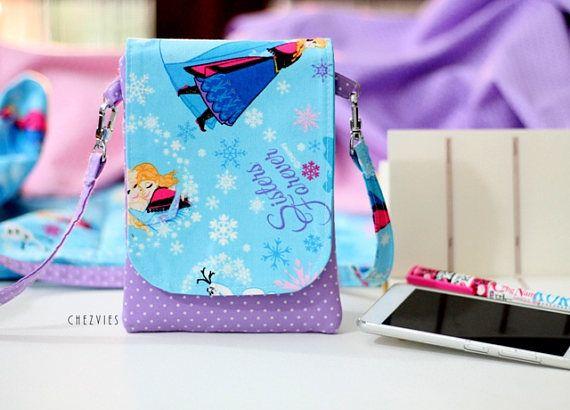 Ella and Anna Mini crossbody bag, Frozen Blue Lavender mini sling bag, blue cross body purse, gift for girl, cell phone bag, Disney trip