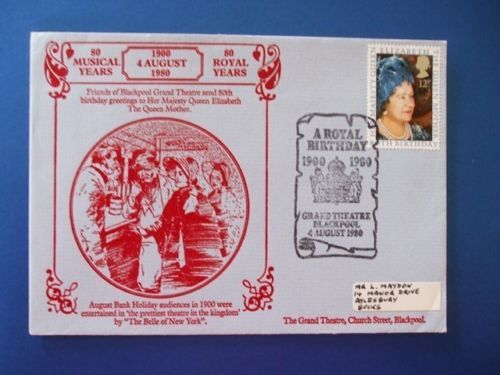 1980-QUEEN-MOTHER-OFFICIAL-GRAND-THEATRE-BLACKPOOL-FIRST-DAY-COVER-C-V-30