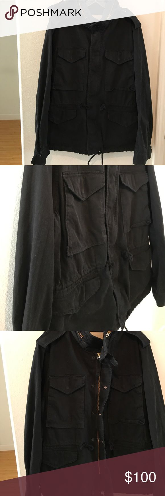 Ralph Lauren. Denim & Supply Military Jacket Black Utillity Coat. Hide the hood in the collar or wear it out! Four front snap close pockets. Draw string waist and bottom. VGUC. Denim & Supply Ralph Lauren Jackets & Coats Military & Field