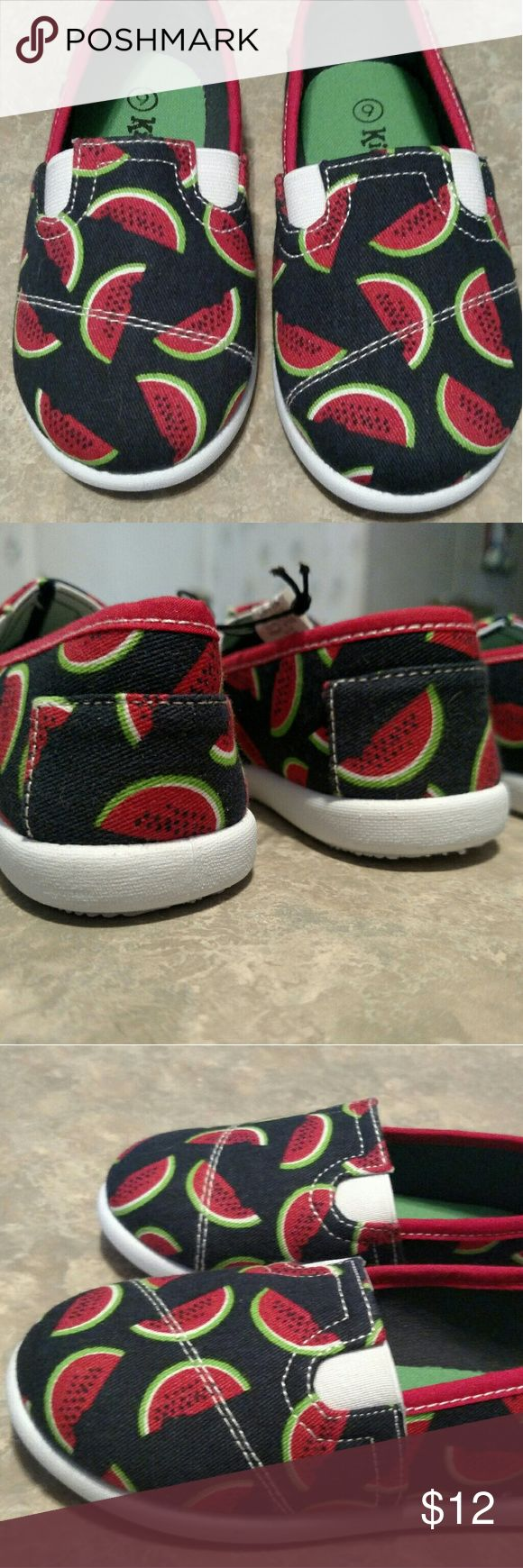Toddler baby girls slip on Toms style shoes sz 9 c BRAND NEW  Slip on with watermelon print  and black background Similiar to Tom's or Bob's  Size 9 c  Great for summer spring casual Tom's  Shoes Sneakers
