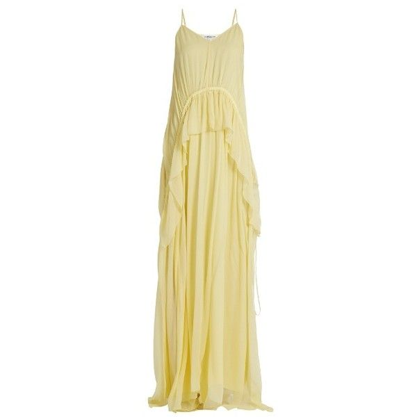 Elizabeth And James Catriona V-neck sleeveless silk-crepon gown ($510) ❤ liked on Polyvore featuring dresses, gowns, light yellow, v-neck dresses, sleeveless gown, butterfly dress, v neck evening dress and silk gown