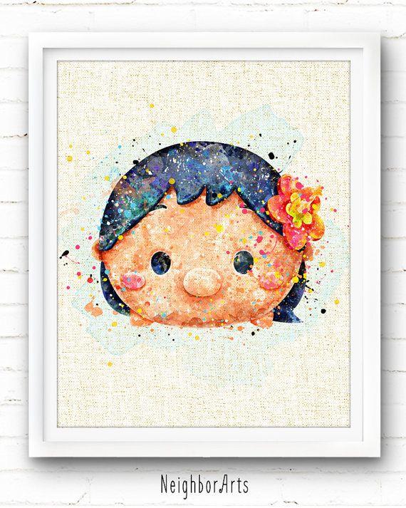 Tsum Tsum Stitch Lilo Watercolor Art Print Watercolor