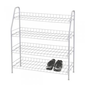 4 Tier White Wire Shoe Rack