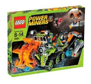 "Lego Power Miners Crystal Sweeper (8961) by LEGO. $250.00. 474 pieces. Roll the vehicle to activate the rotating harvester and scoop up the crystals into the bucket. Includes 2 miner and 2 rock monster minifigures. Extend the drilling arm and pivot into position. Measures over 9"" long and 6"" wide. From the Manufacturer                Hungry rock monsters are on the loose, gobbling up crystals and causing havoc underground. Unleash the Crystal Sweeper and get them fi..."