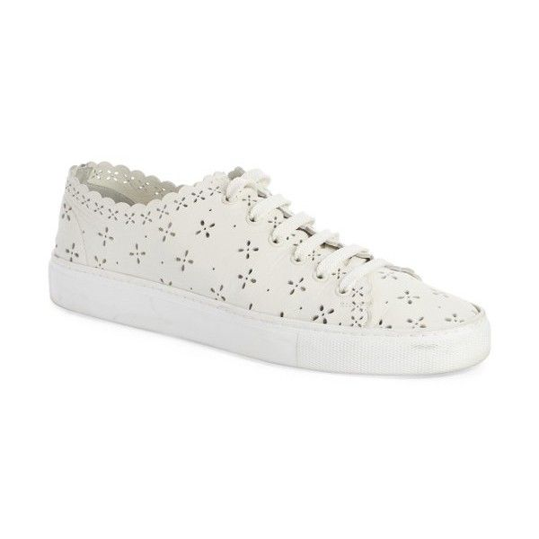 Women's Simone Rocha Classic Laser Cut Plimsoll Sneaker (1.065 BRL) ❤ liked on Polyvore featuring shoes, sneakers, ivory, plimsoll shoes, cut-out sneakers, ivory leather shoes, laser cut shoes and leather sneakers