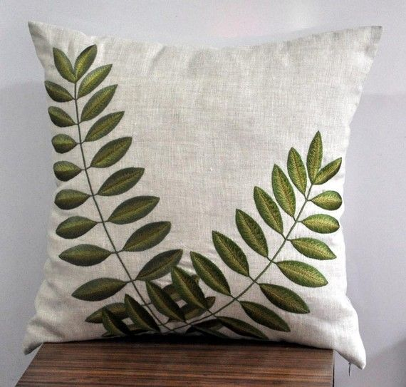 Throw  Pillow Cover 18 x 18, Decorative Pillow Cover, Linen Pillow Cover with Green Acacia Leaves , Linen Accent Pillow, Green Cushion Cover sur Etsy, $26.99 CAD