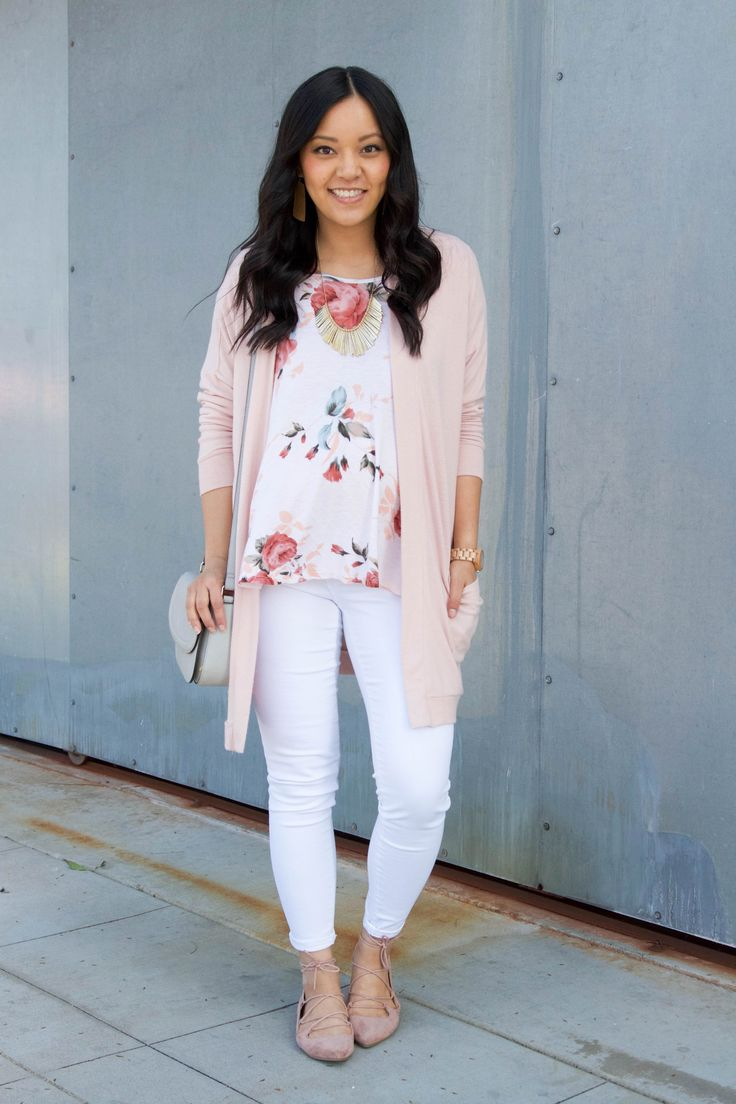 Floral top + Blush Cardigan + Lace up Flats + Statement Necklace