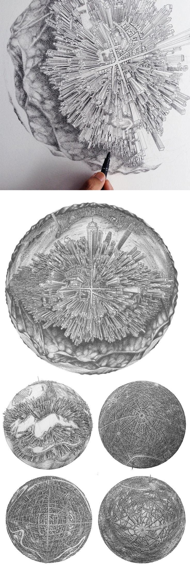 An Architect Maps the Familiar Urban Details of Cities onto Moonlike Globes