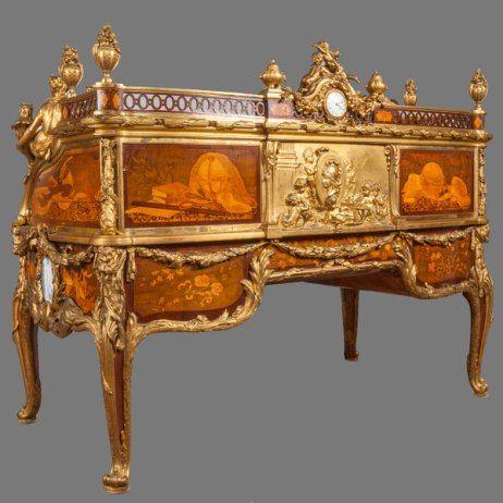 bureau cylindre du roi louis xv par jean fran ois oeben et jean henri riesener paris 1760. Black Bedroom Furniture Sets. Home Design Ideas