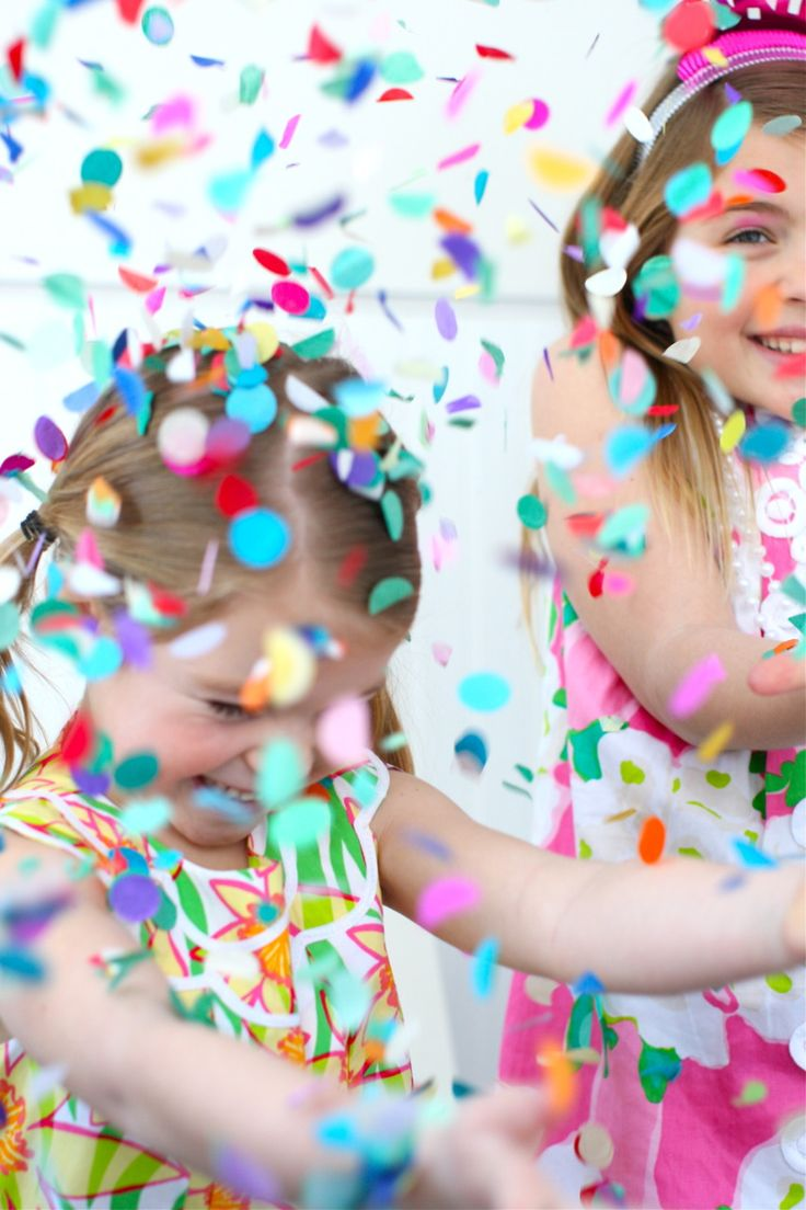Any little girl party is not complete without boatloads of rainbow confetti.