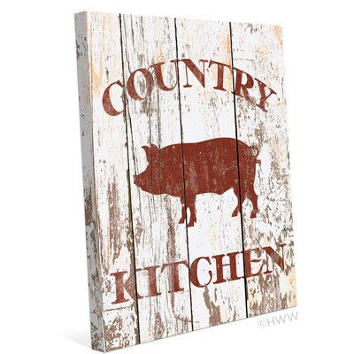 Click Wall Art Pig Country Kitchen Textual Art on Wrapped Canvas
