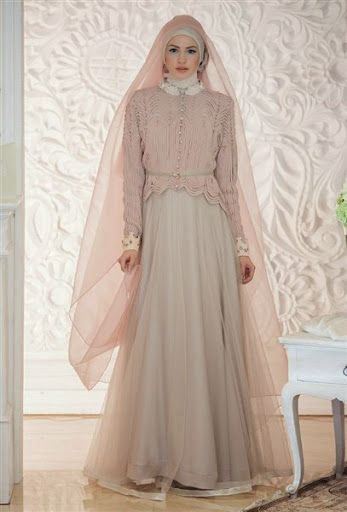 gambar dan foto desain baju dan model gaun hijab pengantin