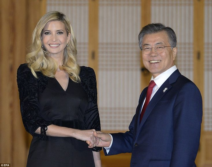 Ivanka Trump met with South Korean President Moon Jae-in on Friday night at the presidenti...