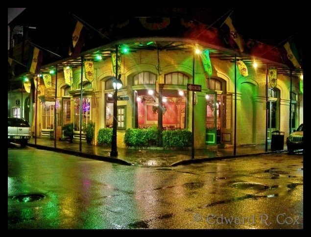 This is beautiful!!!   Edward R. Cox's evocative photo of the New Orleans French Quarter during a rainy Carnival in 2008.