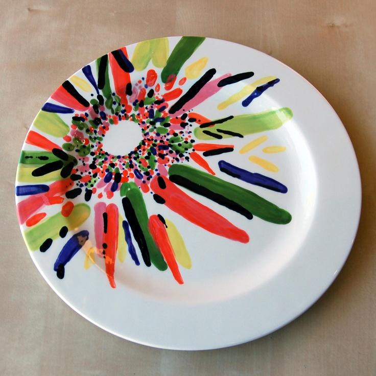 Ceramic Modern Flower On Ceramic Plate Pick And Paint