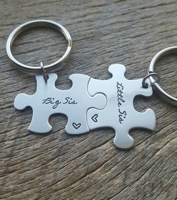 Set of 2 Big Sis Little Sis Hand Stamped Puzzle by One27Designs