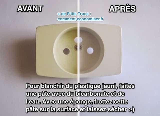 Vous cherchez une astuce pour blanchir du plastique jauni ? Heureusement, il existe un truc simple pour nettoyer le plastique et lui rendre toute sa blancheur. L'astuce est d'utiliser une pâte de bicarbonate de soude.  Découvrez l'astuce ici : http://www.comment-economiser.fr/truc-puissant-pour-blanchir-electromenager-jauni.html?utm_content=buffer6e251&utm_medium=social&utm_source=pinterest.com&utm_campaign=buffer