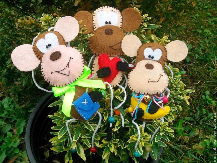 Купить Забавные мартышки!!! - коричневый, мартышка, сувенир, подарок, обезьяна, игрушка, игрушка ручной работы