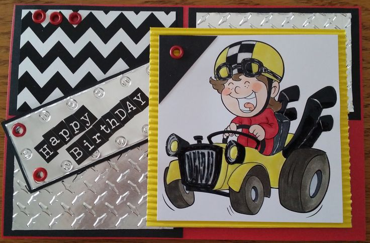 The Paper Shelter - My Racing Car stamp, embossed foil, eyelets and corrugated board