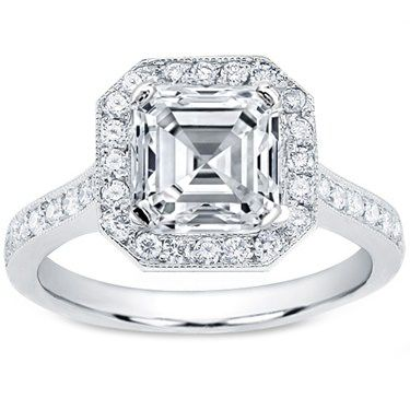 Asscher Diamond Engagement Ring Halo pave in 14K White Gold