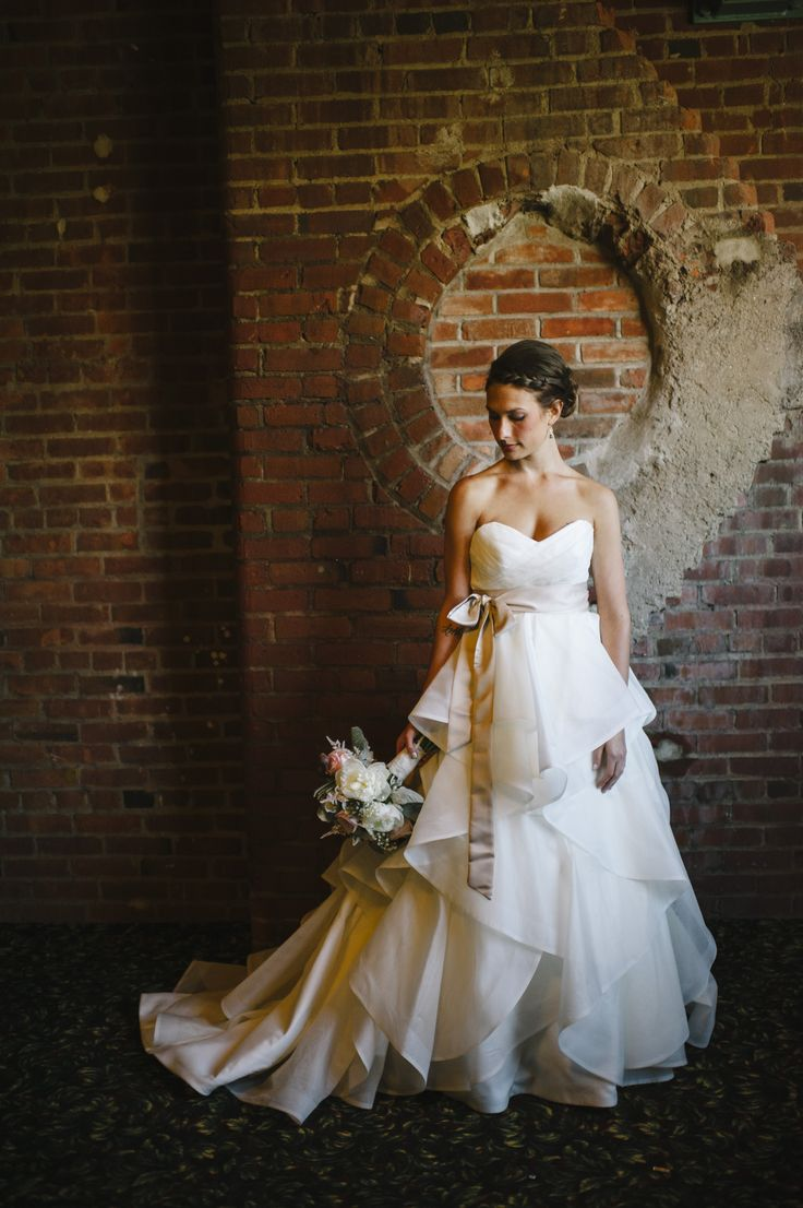 Superb Bride and her Ruffled White Wedding Dress Windows on the River Cleveland Ohio