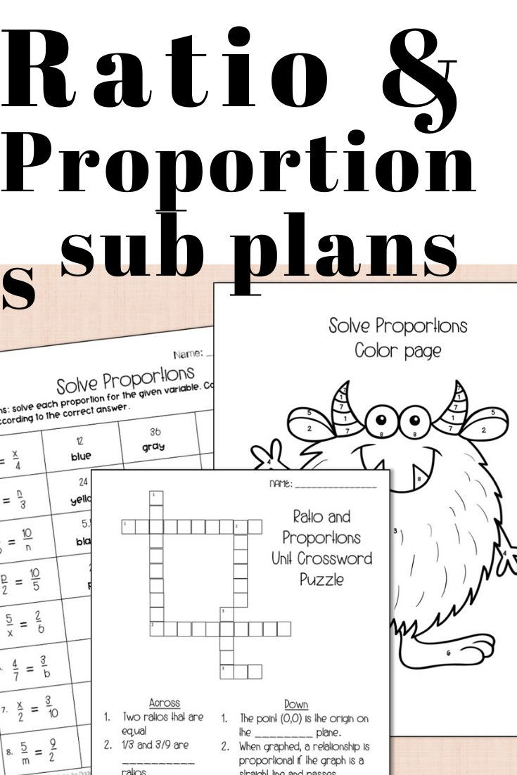 ratio and proportions sub plans - no prep color by number worksheet and  crossword puzzle! Common…   7th grade math [ 1102 x 735 Pixel ]