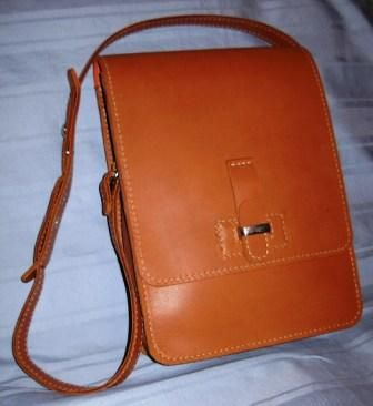 Slimline satchel hand crafted by a student of the SA Leather Academy
