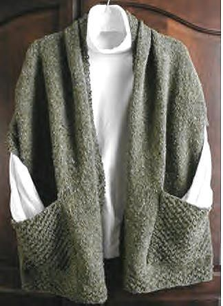 """Reading shawl - 60"""" by 20"""" with nice sized pockets on each end."""