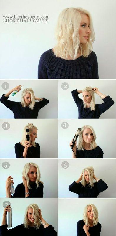 Easy Hair Tutorial: Waves for short hair using a straightener.