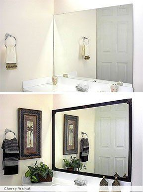 Mirr.Edge:  Frames For Bathroom Mirrors... I'm gonna try to do this with Command strips for a removable frame