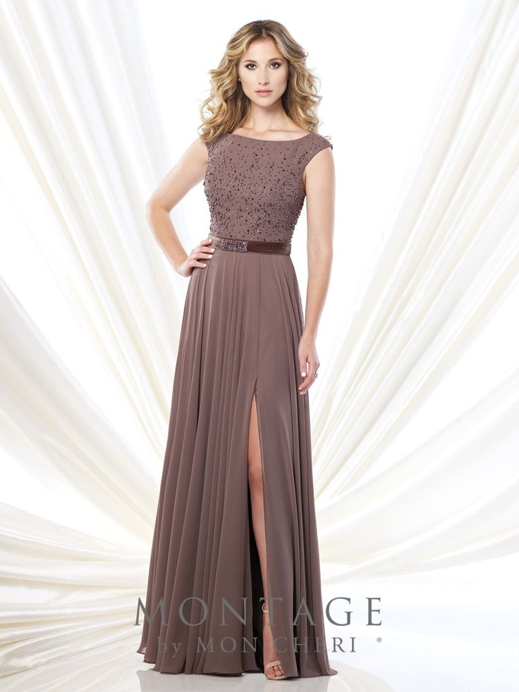 Montage by Mon Cheri - 215903 - Cap sleeve chiffon and velvet A-line gown with bateau neckline, pearl hand-beaded bodice, velvet natural waist belt with pearl beaded motif, gathered skirt with side slit, sweep train. Matching shawl included.Sizes: 4 - 20, 16W - 26WColors: Black, Charcoal, Mink, Navy Blue