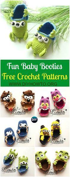Fun Crochet Baby Booties Free Patterns By Kamila Krawka: Crochet Monster, Pirates, Alien, Shrek Baby Booties Newborn shoes