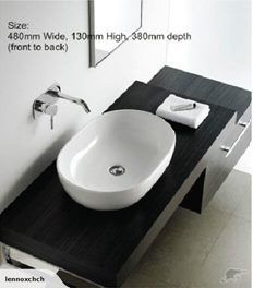 Counter Top Ceramic Basin KY600-S    * 480 mm Wide, 140 mm High, 350 mm Deep (front to back)    * Our products are manufactured to the highest quality    * Wast...