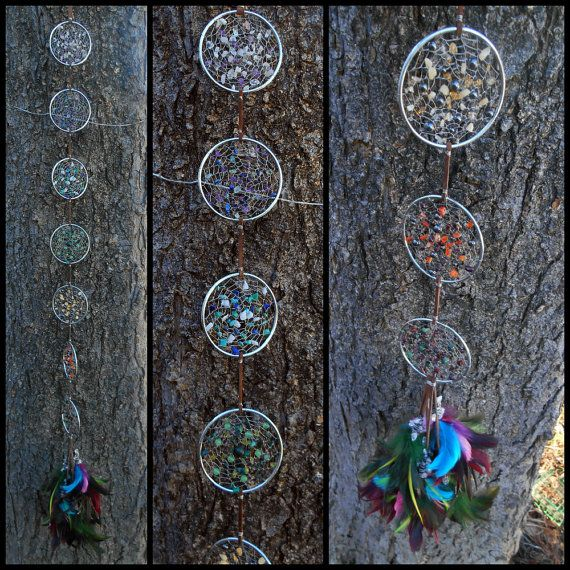 Chakra Alignment Hand-Woven Dream Catcher Flag in Silver by The Emerald Lotus