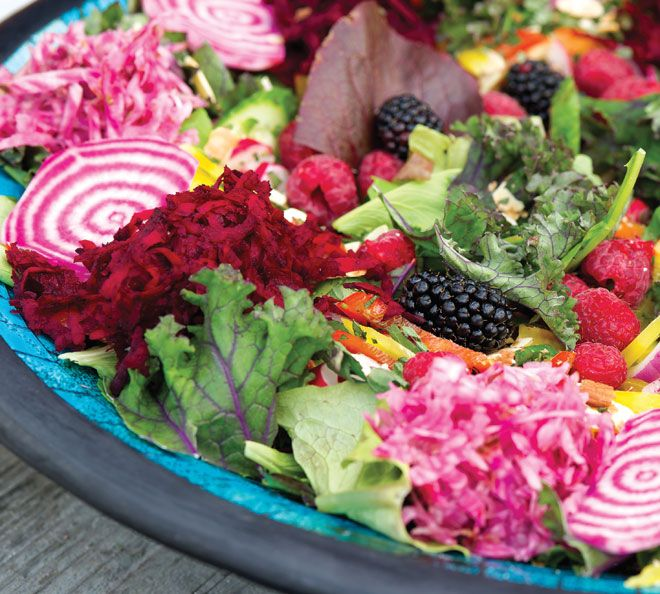 Susi's Jewelled Salad - Whitewater Cafe Book.  Beets, Kale, lettuce, radishes, mint, pomegranate seeds.  So colorful!