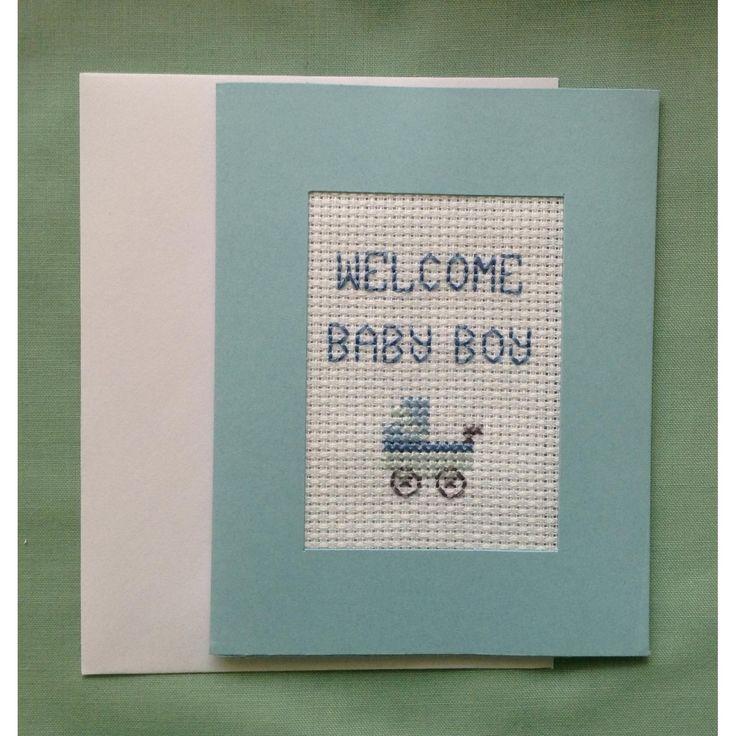 $4 New Baby Boy Cross Stitch Greeting Card by LindabearsHandmade on Handmade Australia