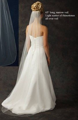 Floor Length Bridal Veil with Rhinestone Scatter in your choice of  Many Colors.