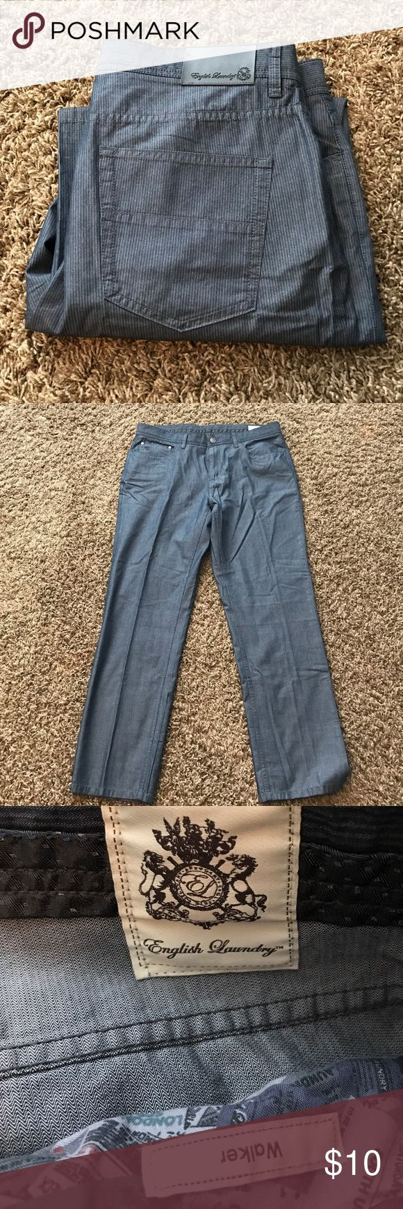 Men's English Laundry Pants Men's English Laundry Pants.  Very nice texture.  Perfect for a night out.  Blueish with Grayish stripes. Waist 36. Inseam 32 English Laundry Pants Chinos & Khakis