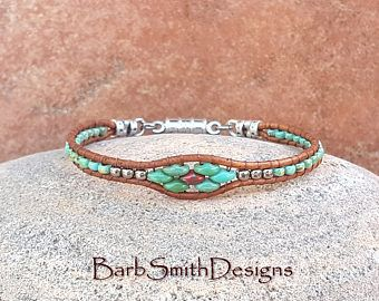 Bracelet manchette en cuir perlé argent turquoise Wrap ou personnalisé bracelet de cheville - le Mini Slim dans des Turquoise corail - taille il!