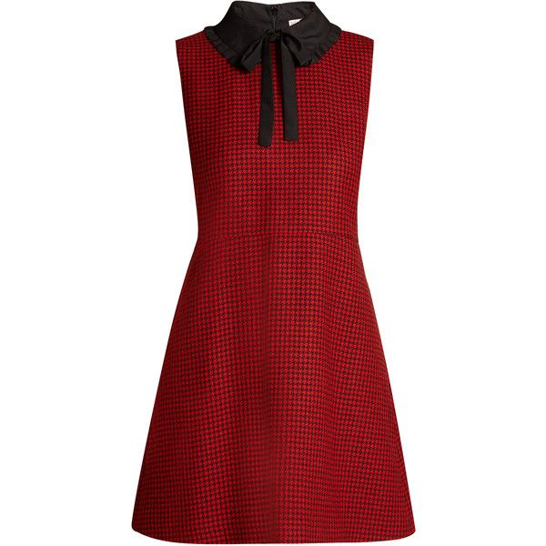 REDValentino Tie-neck hound's-tooth wool dress ($458) ❤ liked on Polyvore featuring dresses, red, red neck tie, red fit and flare dress, red ruffle dress, red dress and mini dress
