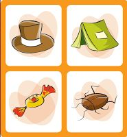 Retirado do site Trilhas   O jogo consiste em encontrar, dentro de uma cartela com quatro imagens, aquela que não se inicia com a mesma síla...