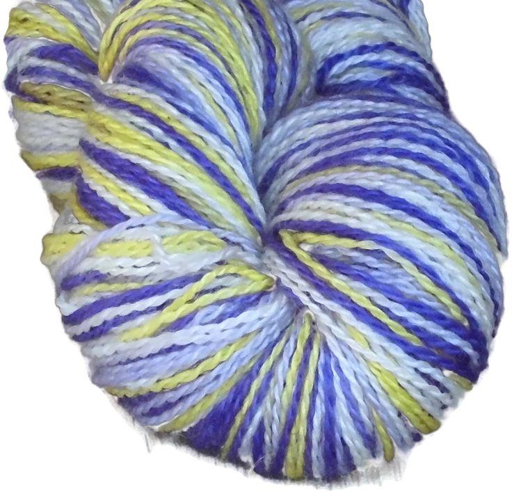 Hand Dyed Bluefaced Leicester Wool Sock Yarn, 2-ply Lavender Fields, Handdyed Sockyarn, Wool Yarn, Sock Yarn, Purple Yellow Yarn, Handpaint