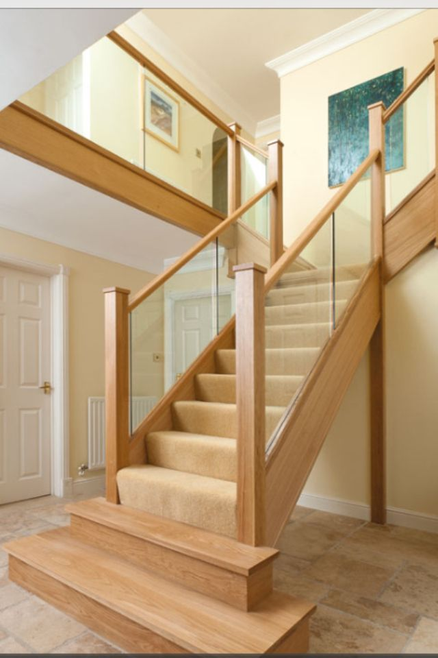 Oak & glass staircase simple, just beautiful wood.
